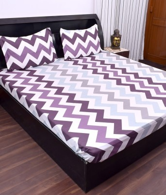 Kaaj Designs Cotton Silk Blend Striped Double Bedsheet