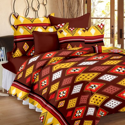 Ahmedabad Cotton Cotton, Satin Geometric Double Bedsheet
