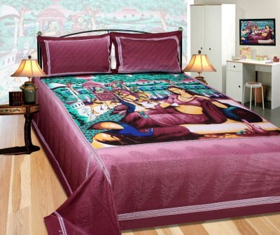 Abhomedecor Cotton Abstract King sized Double Bedsheet