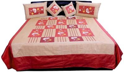 Shilpbazaar Silk Double Bed Cover(Maroon, Brown, 1 Double Bedcover, 2 Cushion Covers, 2 Pillow Covers)