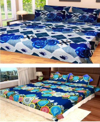 Homefab India Cotton Floral King sized Double Bedsheet