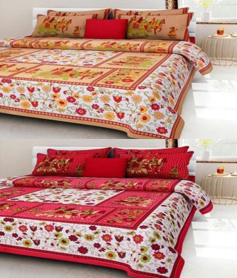 Aditfab Cotton Printed King sized Double Bedsheet
