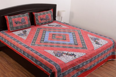 SheetKart Cotton Abstract King sized Double Bedsheet