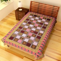 Chokor Cotton Printed Single Bedsheet(1 Single BedSheet, Pink)