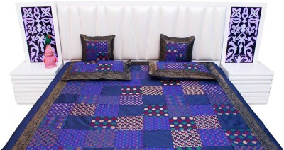 shreemangalammart Silk Double Bed Cover(Purple, 1 Double Bedcover, 2 Cushion Covers, 2 Pillow Covers)