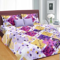 Cortina Cotton Geometric Double Bedsheet(1 Double Bed sheet With 2 Pillow Covers, Multicolour)