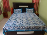 Curtain Shop Cotton Animal Double Bedsheet(1 bed Sheet with two Pillow Cover, Blue)