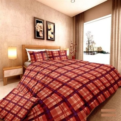 Aalidhra Techtex Cotton Checkered Double Bedsheet