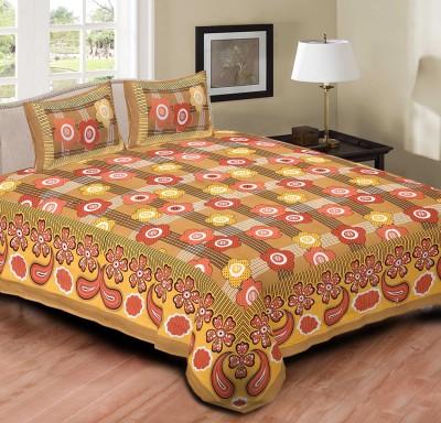 SHOP JAIPURI Cotton Floral Double Bedsheet