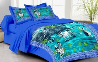 Lali Prints Cotton Printed Single Bedsheet(1 Single Bedsheet with 2 Pillow Covers, Blue)