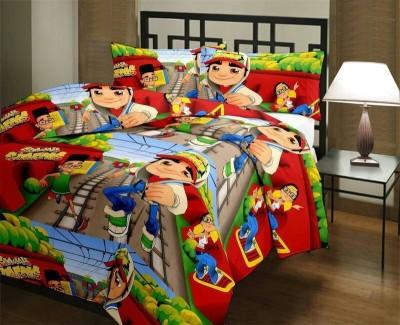 Excel Bazaar Satin, Cotton Cartoon Double Bedsheet