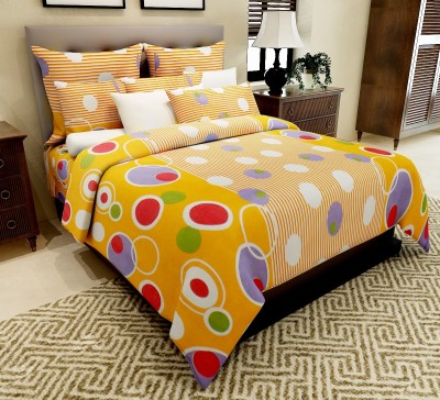 Home Candy Cotton Geometric Double Bedsheet(1 Double Bed Sheet, 2 Pillow Covers, Yellow)