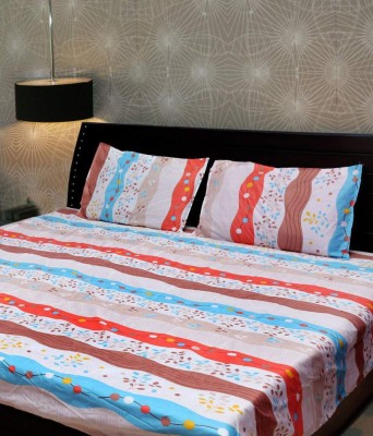 Ridhaan Polycotton Striped Double Bedsheet