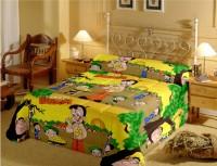 PrintStar Satin Cartoon Single Bedsheet(1 Bedsheet With 1 Pillow Cover, Yellow)