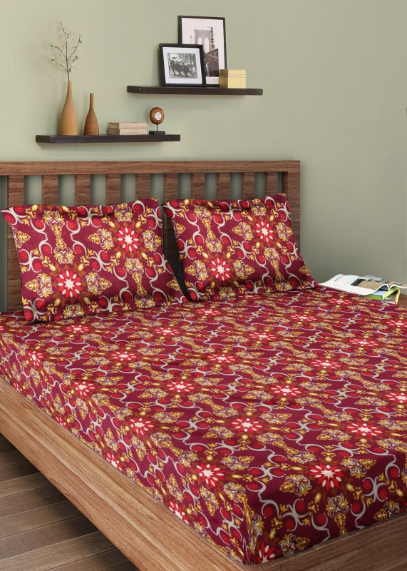 Bella Casa Cotton Printed Double Bedsheet(1 Double Bedsheet, 2 Pillow...
