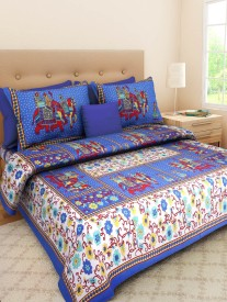 Rajasthani Print Cotton Printed Double Bedsheet(One Double Bed Sheet With Two Pillow Cover, Multicolor)