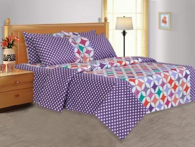 Salona Bichona Polycotton Striped Double Bedsheet