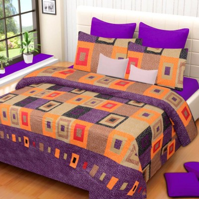 HOME ELITE Cotton Geometric Double Bedsheet