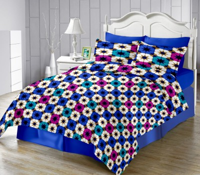 LISSOME Satin Geometric King sized Double Bedsheet