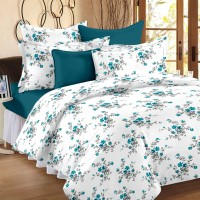 Ahmedabad Cotton Cotton Floral Single Bedsheet(1 Single Bed Sheet, 1 Pillow Cover, White, Blue)