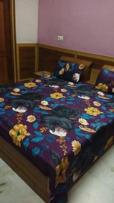 divine creations Polycotton Floral Double Bedsheet
