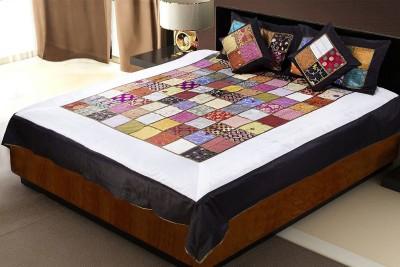 Jaipur Fabric Silk Checkered Double Bedsheet