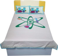 Hugs N Rugs Cotton Embroidered Single Bedsheet(One Bedsheet Two Pillow, Multicolor)