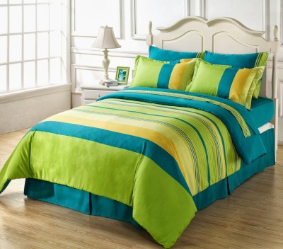Ahmedabad Cotton Cotton Striped Double Bedsheet