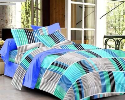 Aalidhra Techtex Cotton Striped Double Bedsheet