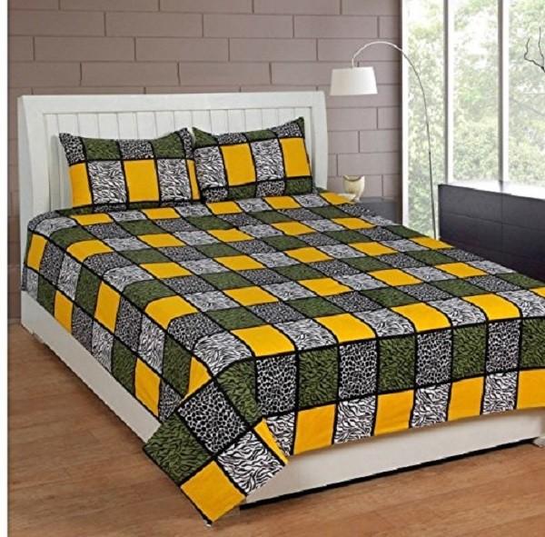 Zain Cotton Checkered Queen sized Double Bedsheet(1 QUEEN SIZE BED SHEET, 2 PILLOW COVERS, MULTI COLOUR)
