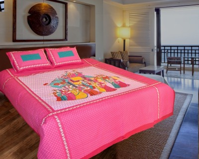Ooltah Chashma Cotton Printed Double Bedsheet