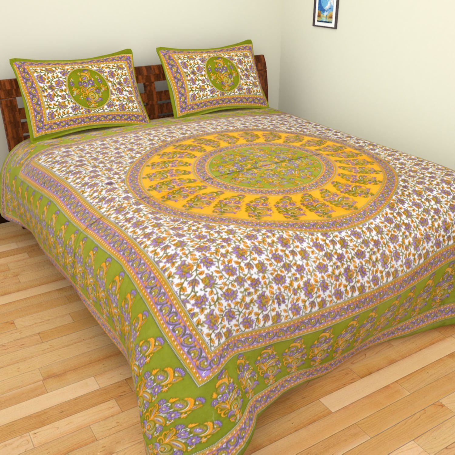 Aone Collection Cotton Floral Single Bedsheet(1 Bedsheet, 2 Pillow Cover, Green, White)