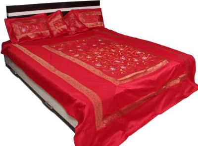 Soundarya Polyester Silk Blend Abstract Double Bedsheet