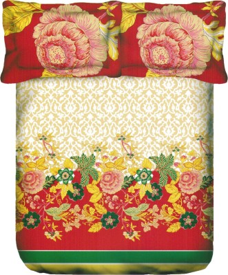 Portico New York Satin Floral King sized Double Bedsheet