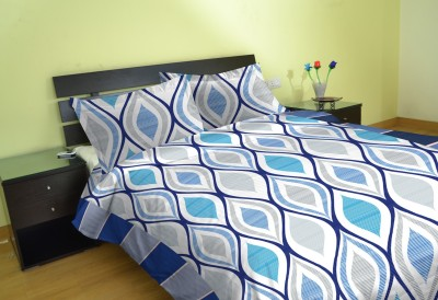 Aalidhra Polyester Silk Blend Geometric Double Bedsheet
