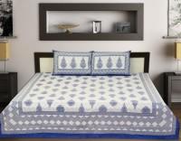 Touch Feel Cotton Motifs Double Bedsheet(1 BED SHEET, 2 Pillow Covers, Blue)