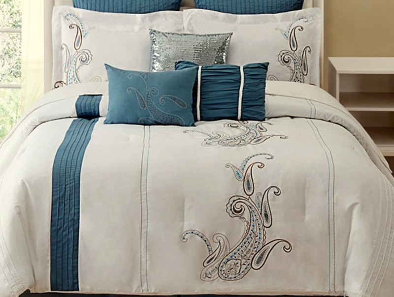 Bella King Cotton Duvet Cover(Blue, White)