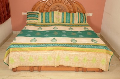 Evergreen Silk Embroidered Double Bedsheet