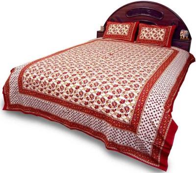 Indigocart Cotton Self Design Double Bedsheet