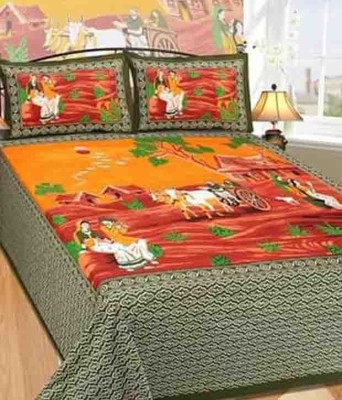 shriji Cotton Printed King sized Double Bedsheet