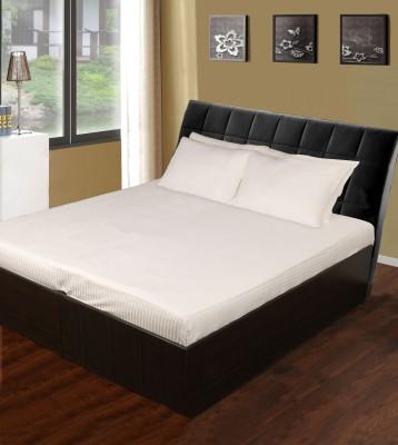 White Swan Cotton Striped Double Bedsheet
