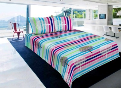 The Chaddar Polycotton Striped Double Bedsheet