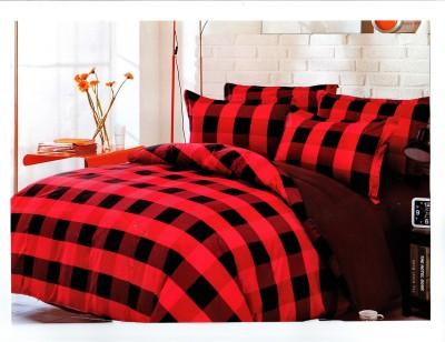 JDS Bedsheet Cotton Linen Blend Checkered Double Bedsheet