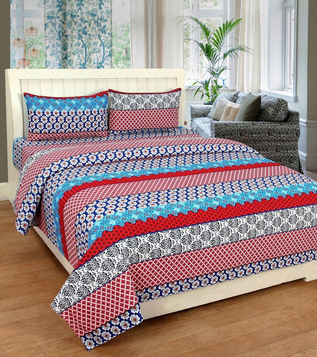 Zain Cotton Self Design Queen sized Double Bedsheet(1 QUEEN SIZE BED SHEET, 2 PILLOW COVERS, MULTI COLOUR)