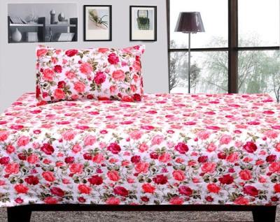 Dream Decor Cotton Floral Single Bedsheet