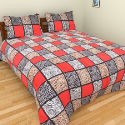 VEENA FABS Cotton Checkered Double Bedsheet