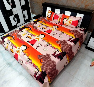 Indiano Cotton Cartoon Queen sized Double Bedsheet