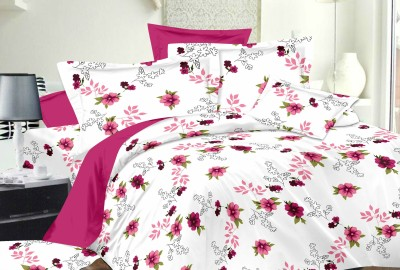 Richa Creation Satin Floral King sized Double Bedsheet