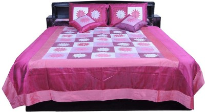Shilpbazaar Silk Double Bed Cover(Pink, 1 Double Bedcover, 2 Cushion Covers, 2 Pillow Covers)