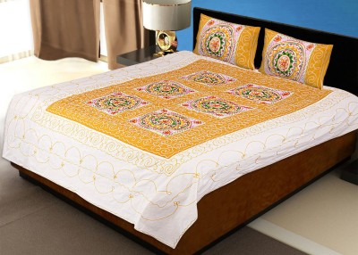 VASTRAA FUSION Cotton Embroidered Double Bedsheet